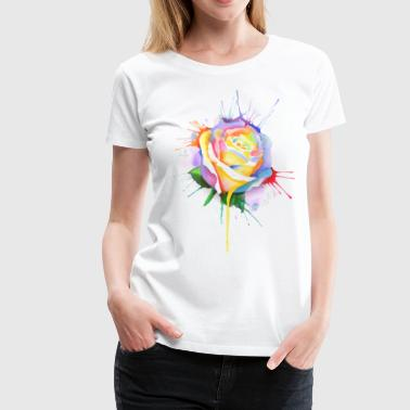 watercolor painting rose bud - Women's Premium T-Shirt