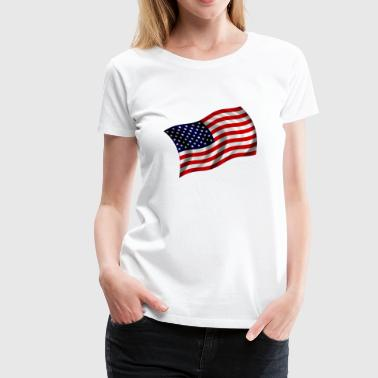 USA flag fluttering - Women's Premium T-Shirt