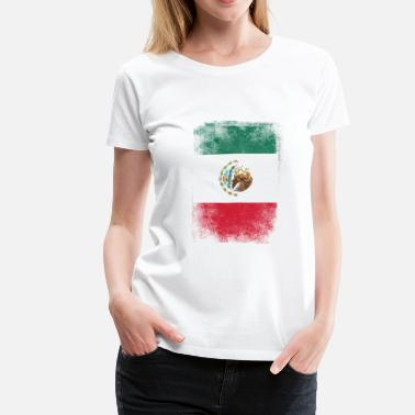 Mexican Mexico Flag Proud Mexican Vintage Distressed - Women's Premium T-Shirt