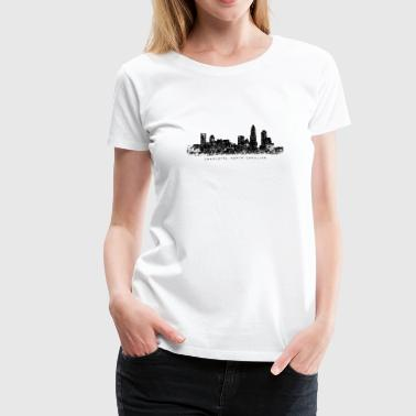 Charlotte, North Carolina Skyline Vintage Black - Women's Premium T-Shirt