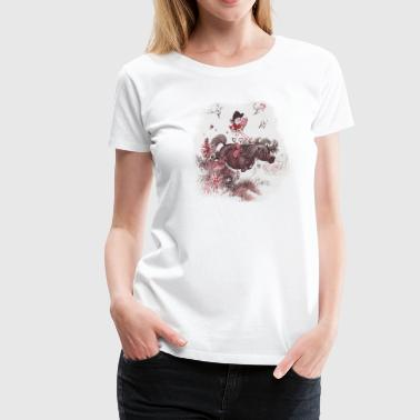 Thelwell Reading Outside Flowers - Women's Premium T-Shirt