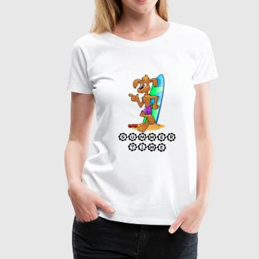 Surfer-dog summertime - cool surfer dog - Women's Premium T-Shirt
