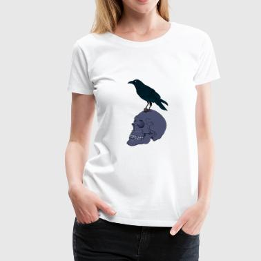 Dark Gothic Art Raven On a Human Skull - Women's Premium T-Shirt