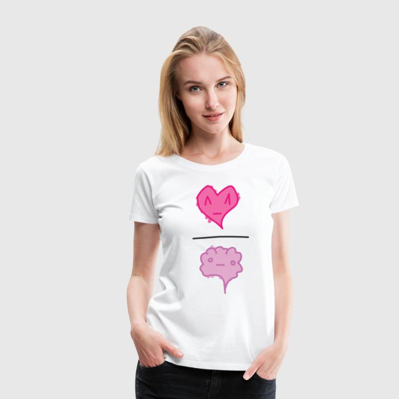 Heart Over Brain White - Women's Premium T-Shirt