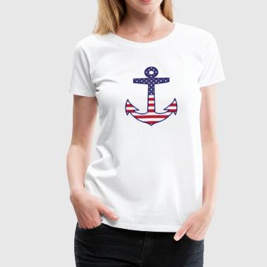 Nautical Flags Patriotic American Flag Anchor Nautical - Women's Premium T-Shirt