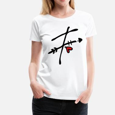 F Letter Letter F with arrow heart - Women's Premium T-Shirt
