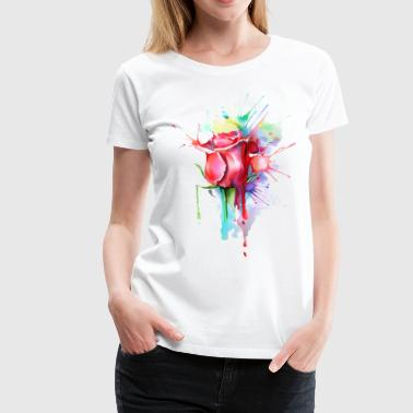 watercolor painting rose - Women's Premium T-Shirt
