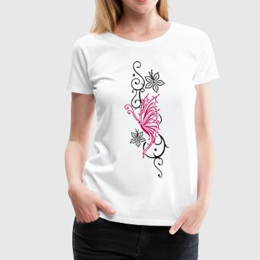 Butterfly with tribal ornament and flowers - Women's Premium T-Shirt