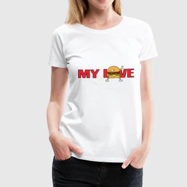 My Love Fast Food Dabbing Dab Burger Cheeseburger - Women's Premium T-Shirt