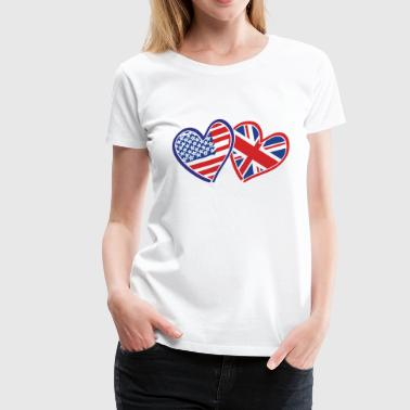 USA-UK-Hearts-whith-white - Women's Premium T-Shirt