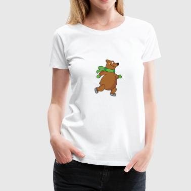 Field Hockey Brown Bear Ice Skating Skater Skates Winter Sports - Women's Premium T-Shirt