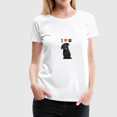 i love dog black, dog paw - Women's Premium T-Shirt