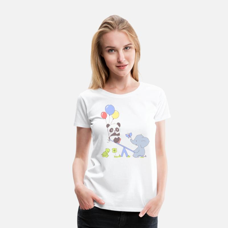 Baby T-Shirts - Panda and Elephant on Seesaw - Women's Premium T-Shirt white