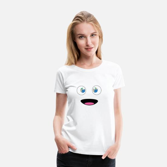 Enviromental T-Shirts - Earth Face Comic Happy Pupills I climate change - Women's Premium T-Shirt white