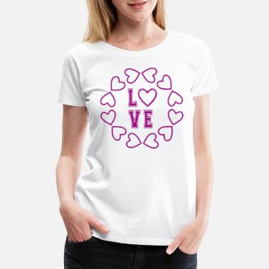 Pinch Beautiful LOVE heart circle for lovers - Women's Premium T-Shirt