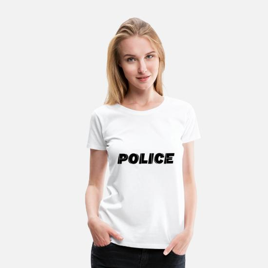 Gift Idea T-Shirts - Lettering POLICE - Women's Premium T-Shirt white