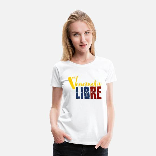 Country T-Shirts - venezuela libre flag freedom stars country america - Women's Premium T-Shirt white