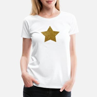 Gold Star Gold Star Glitter Design - Women's Premium T-Shirt