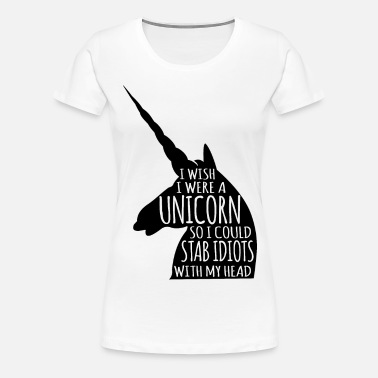 Unicorn Stab Idiots With Head Silhouette Women's 50/50 T-Shirt - white