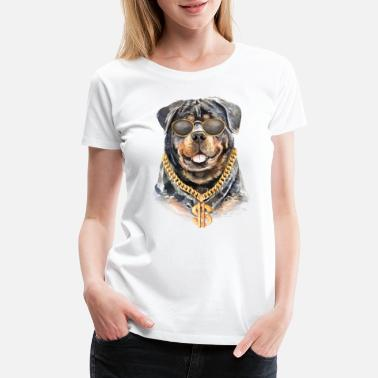 French Rottweiler dog watercolor with chain necklace - Women's Premium T-Shirt