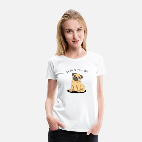Pug T-Shirts - funny pug mr steal your girl - Women's Premium T-Shirt white