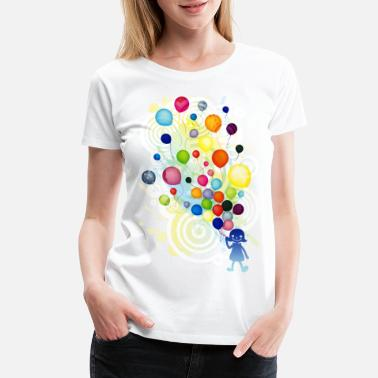 Girl_With_Colorful_Balloo - Women's Premium T-Shirt