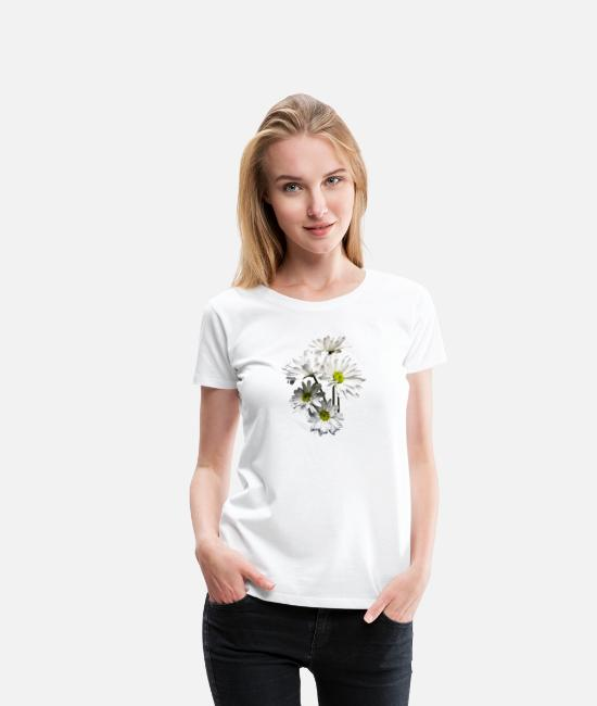 White T-Shirts - Cascade of White Daisies - Women's Premium T-Shirt white
