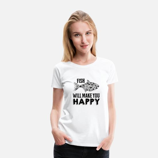 Aquarium T-Shirts - Fishing makes me happy - Women's Premium T-Shirt white