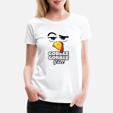 Eating Football Gobble Thanksgiving Funny Turkey Face Gift Idea - Women's Premium T-Shirt