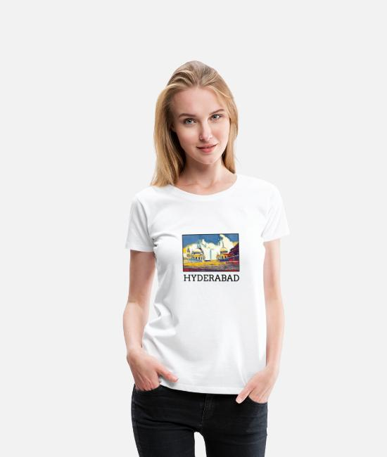 Art T-Shirts - Hyderabad City Skyline Art Sights Landmark - Women's Premium T-Shirt white