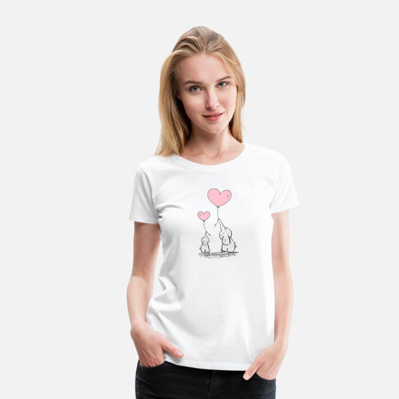 Love T-Shirts - Cute Mom & Baby Elephants With Pink Heart Balloon - Women's Premium T-Shirt white