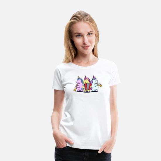Accordion T-Shirts - Cute Unicorns Folk Music Brass Band Musician - Women's Premium T-Shirt white