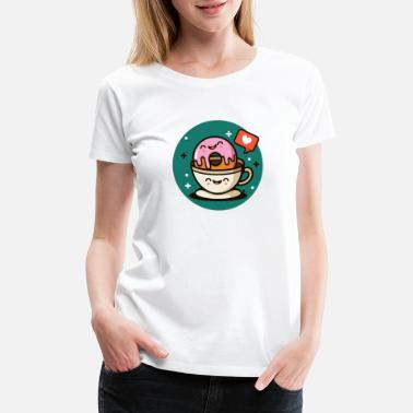 Valentine's Day Happy Donut Coffe Love Shirt - Women's Premium T-Shirt
