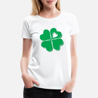 Shamrock Four Leaf Clover Heart Lucky St Patricks Day - Women's Premium T-Shirt