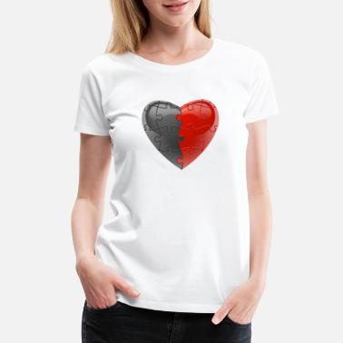 With Full Force Grey With Red Puzzle Heart - Women's Premium T-Shirt