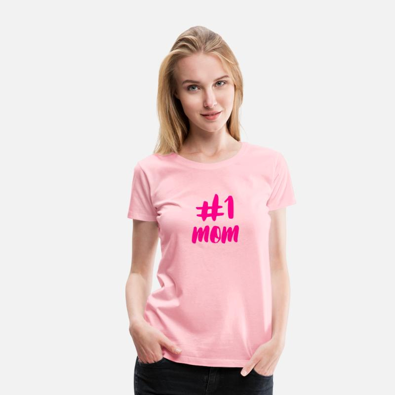 bbcf1412252a9 Number One Mom Hot Pink Women's Premium T-Shirt - pink