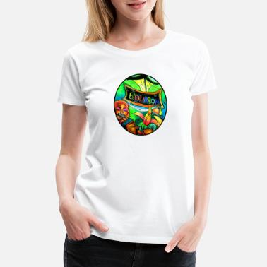 Bead Street musician couple playing on Bourbon Street - Women's Premium T-Shirt