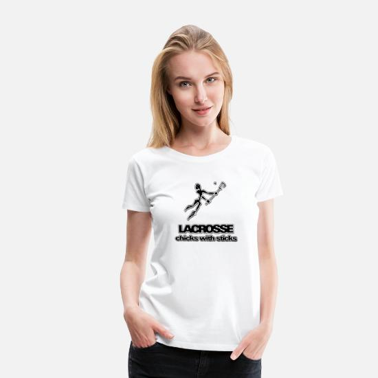 Lacrosse T-Shirts - Lacrosse Chicks With Sticks - Women's Premium T-Shirt white