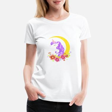 unicorn head on the moon - Women's Premium T-Shirt