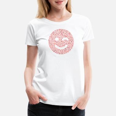 Wink Snow Wordcloud of a smile wink form (reds) - Women's Premium T-Shirt