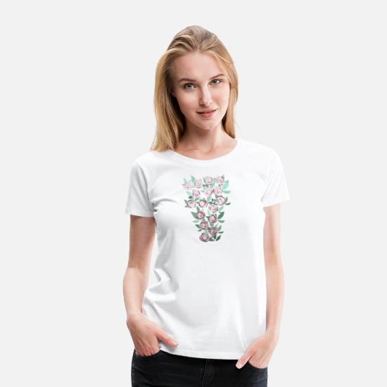 Tenderness T-Shirts - Stained Glass Roses Bouquet - Women's Premium T-Shirt white