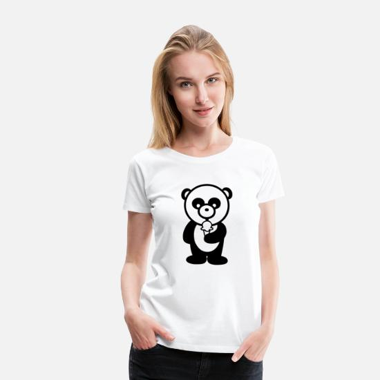 Cuddly T-Shirts - Panda with Ice Cream - Women's Premium T-Shirt white