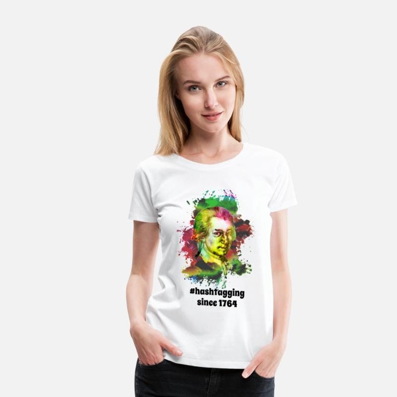 Beethoven T-Shirts - Hashtagging Since 1764 | Sharp Classical Music - Women's Premium T-Shirt white