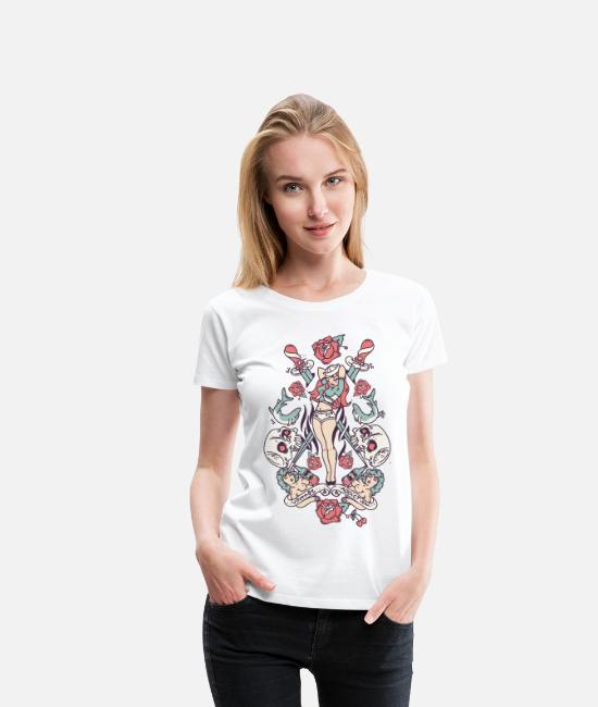 Roses And Skulls T-Shirts - Vintage Pin-up - Women's Premium T-Shirt white