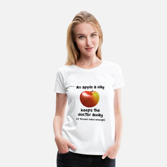 Worm T-Shirts - Apfel - an Apple a day keeps doctor away - Women's Premium T-Shirt white