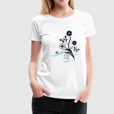 Tendril with flowers and butterflies, blue - Women's Premium T-Shirt