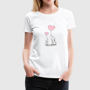 Cute Mom & Baby Elephants With Pink Heart Balloon - Women's Premium T-Shirt