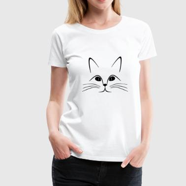 Cat face, black white, Cat eyes - Women's Premium T-Shirt