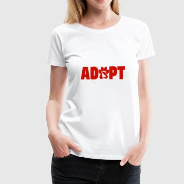 adopt pets, cat, dog paw, red - Women's Premium T-Shirt