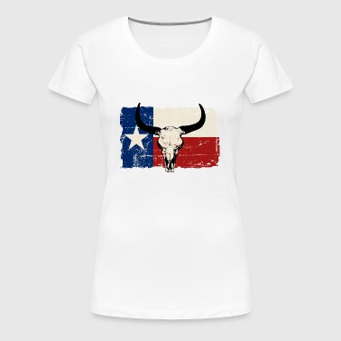 Texas Bull Flag - Vintage Look - Women's Premium T-Shirt